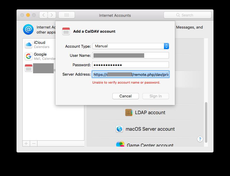NextCloud / MacOS / CalDav / Woes - support - Nextcloud