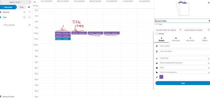Nextcloud calendar Capture