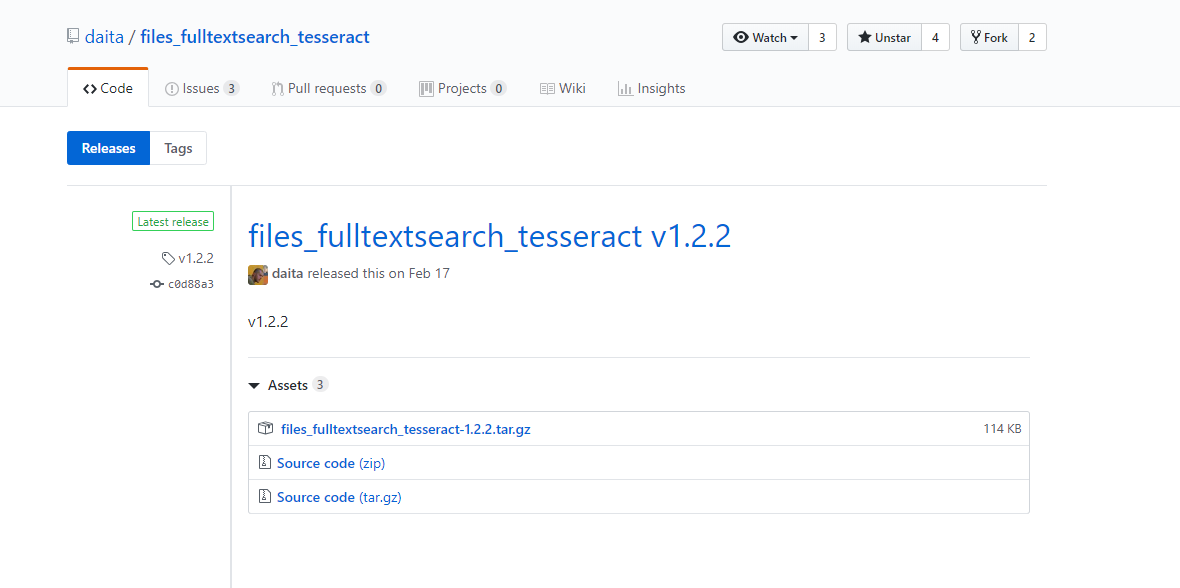 Can't update the app Full text search - Files - Tesseract