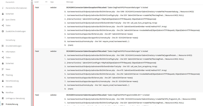 The program Nextcloud crahes wenn I sync many files - appliances