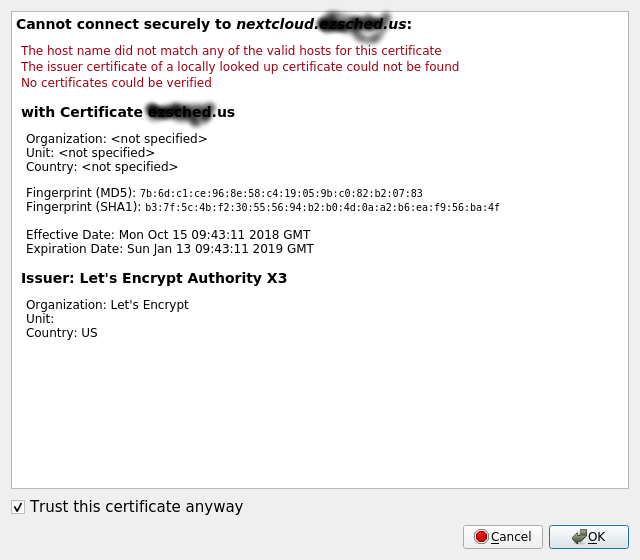 Cant Connect Getting Certificate Error Clients Nextcloud Community
