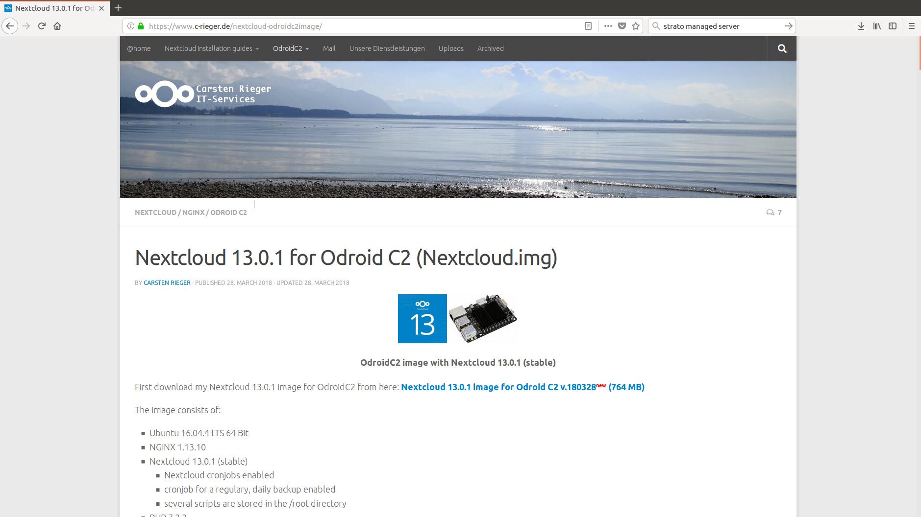 NextcloudOC2 image for Odroid C2 - appliances (Docker