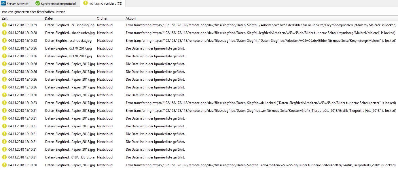 The program Nextcloud crahes wenn I sync many files