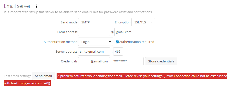 Gmail SMTP Email Server config - support - Nextcloud community