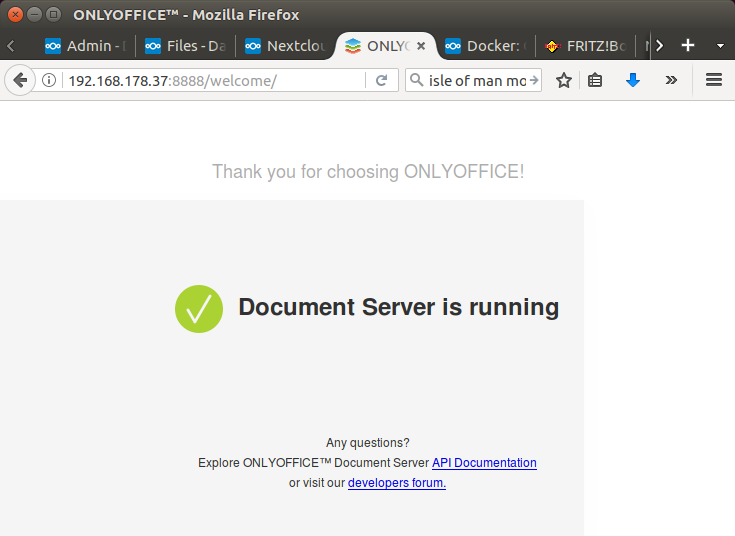 Docker: ONLYOFFICE not reached  Please contact admin - onlyoffice