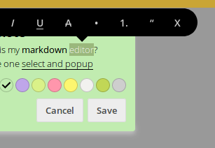 Feature request - intergrate popup markdown selector from