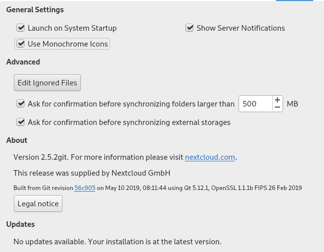 No status icon for client app under fedora 30 - installation