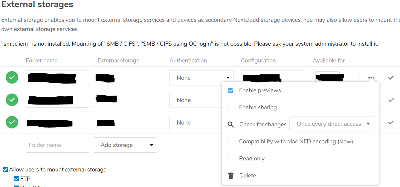 Some External Storages showing empty listings in NextCloud - support