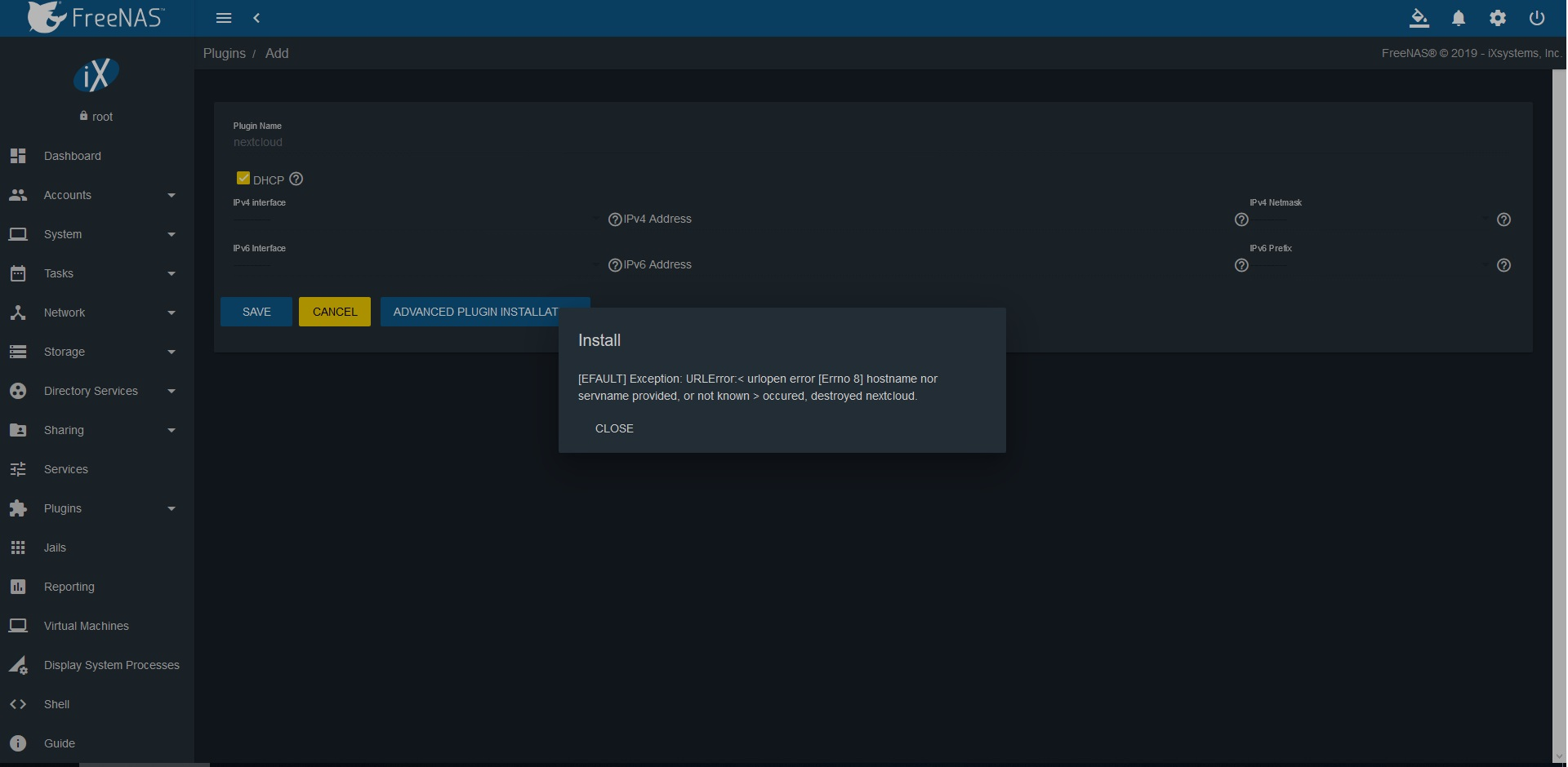 Install errors using freenas - installation - Nextcloud community