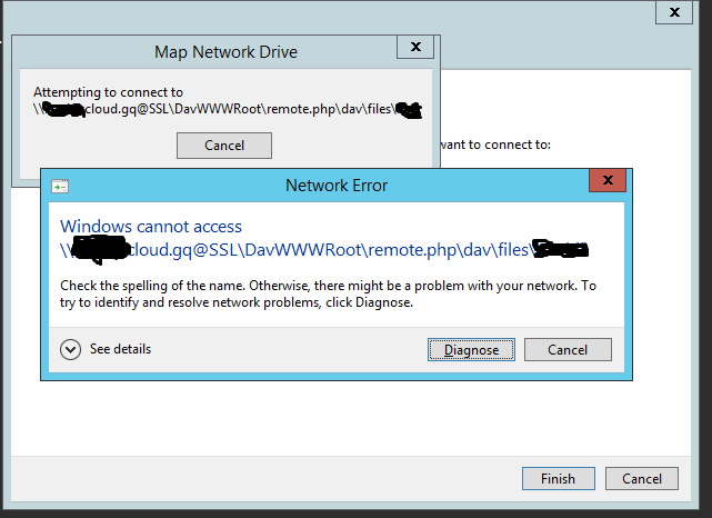 Unable to use webdav mount on windows 8 1 - support