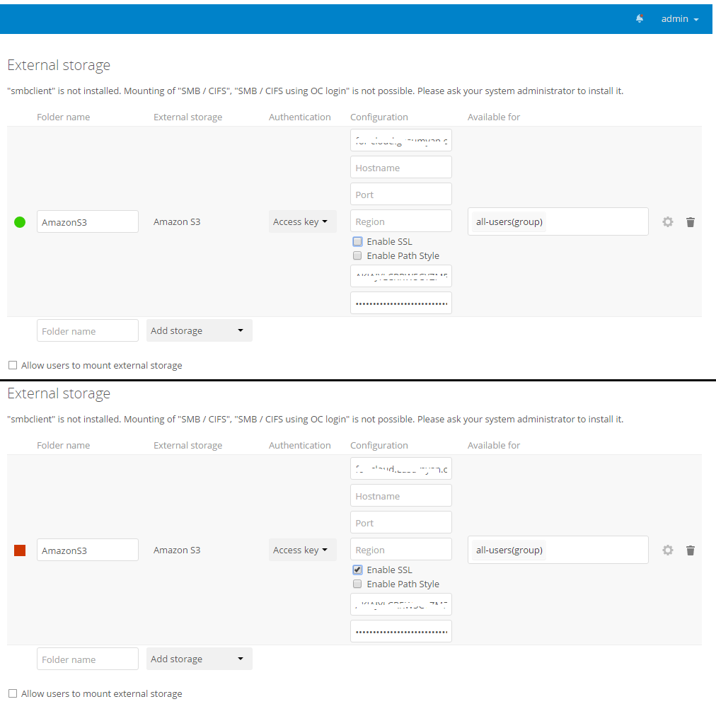 Nextcloud 11 + Amazon S3 with enable SSL - support