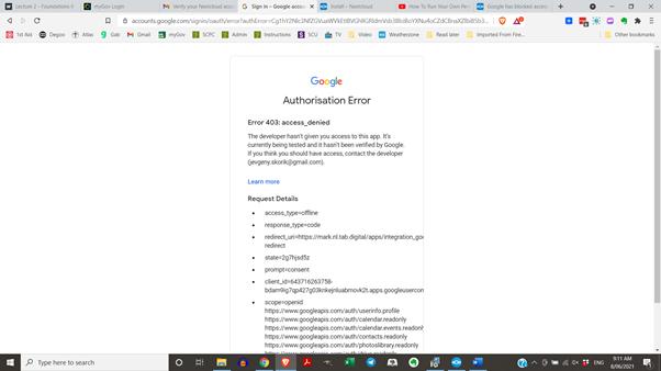 Google Authorisation Error
