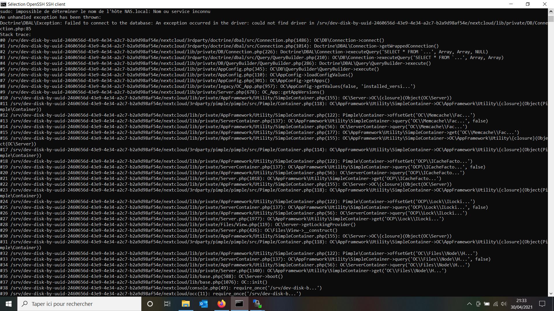 Nextcloud erreur de connection à la database (30.04.21)
